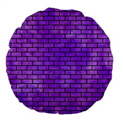 Brick1 Black Marble & Purple Watercolor Large 18  Premium Flano Round Cushions by trendistuff