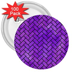 Brick2 Black Marble & Purple Watercolor 3  Buttons (100 Pack)  by trendistuff