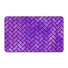 Brick2 Black Marble & Purple Watercolor Magnet (rectangular) by trendistuff