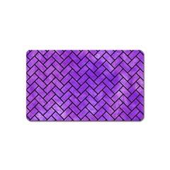 Brick2 Black Marble & Purple Watercolor Magnet (name Card) by trendistuff