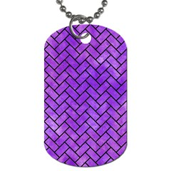 Brick2 Black Marble & Purple Watercolor Dog Tag (one Side) by trendistuff