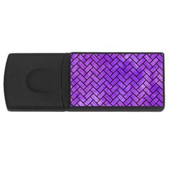 Brick2 Black Marble & Purple Watercolor Rectangular Usb Flash Drive by trendistuff