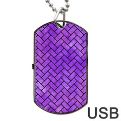Brick2 Black Marble & Purple Watercolor Dog Tag Usb Flash (two Sides) by trendistuff