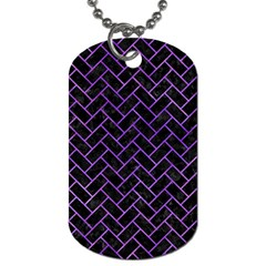 Brick2 Black Marble & Purple Watercolor (r) Dog Tag (one Side)