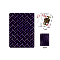 Brick2 Black Marble & Purple Watercolor (r) Playing Cards (mini)  by trendistuff