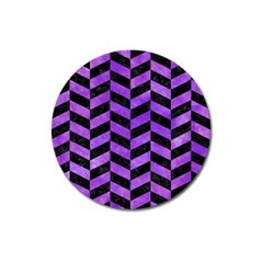 Chevron1 Black Marble & Purple Watercolor Magnet 3  (round) by trendistuff