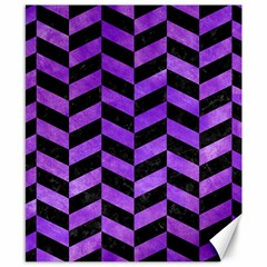 Chevron1 Black Marble & Purple Watercolor Canvas 8  X 10  by trendistuff