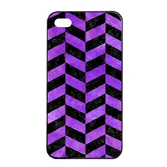 Chevron1 Black Marble & Purple Watercolor Apple Iphone 4/4s Seamless Case (black) by trendistuff