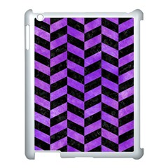 Chevron1 Black Marble & Purple Watercolor Apple Ipad 3/4 Case (white) by trendistuff