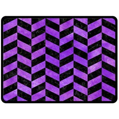 Chevron1 Black Marble & Purple Watercolor Double Sided Fleece Blanket (large)  by trendistuff