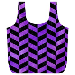 Chevron1 Black Marble & Purple Watercolor Full Print Recycle Bags (l)  by trendistuff