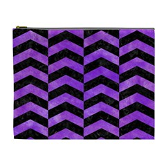 Chevron2 Black Marble & Purple Watercolor Cosmetic Bag (xl) by trendistuff