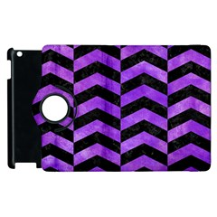 Chevron2 Black Marble & Purple Watercolor Apple Ipad 2 Flip 360 Case by trendistuff