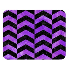 Chevron2 Black Marble & Purple Watercolor Double Sided Flano Blanket (large)  by trendistuff