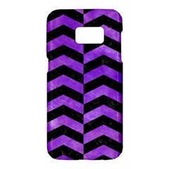 Chevron2 Black Marble & Purple Watercolor Samsung Galaxy S7 Hardshell Case  by trendistuff