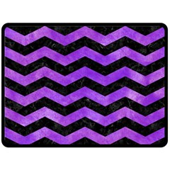 Chevron3 Black Marble & Purple Watercolor Double Sided Fleece Blanket (large)  by trendistuff