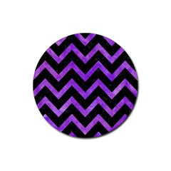 Chevron9 Black Marble & Purple Watercolor (r) Rubber Round Coaster (4 Pack)  by trendistuff