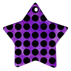 Circles1 Black Marble & Purple Watercolor Star Ornament (two Sides) by trendistuff