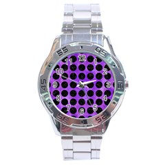Circles1 Black Marble & Purple Watercolor Stainless Steel Analogue Watch by trendistuff