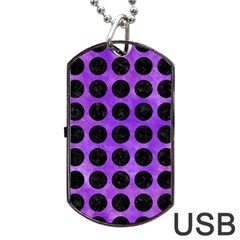 Circles1 Black Marble & Purple Watercolor Dog Tag Usb Flash (one Side) by trendistuff