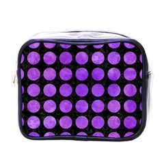 Circles1 Black Marble & Purple Watercolor (r) Mini Toiletries Bags by trendistuff