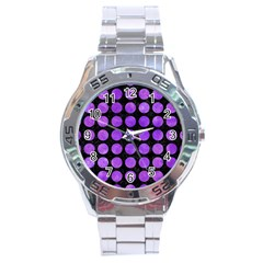 Circles1 Black Marble & Purple Watercolor (r) Stainless Steel Analogue Watch by trendistuff