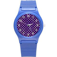 Circles3 Black Marble & Purple Watercolor Round Plastic Sport Watch (s) by trendistuff