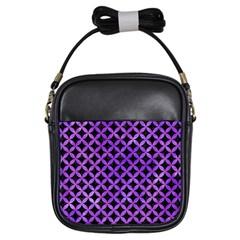 Circles3 Black Marble & Purple Watercolor (r) Girls Sling Bags by trendistuff