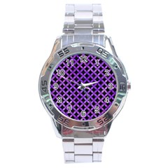 Circles3 Black Marble & Purple Watercolor (r) Stainless Steel Analogue Watch by trendistuff