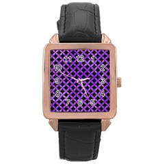 Circles3 Black Marble & Purple Watercolor (r) Rose Gold Leather Watch  by trendistuff