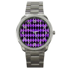 Diamond1 Black Marble & Purple Watercolor Sport Metal Watch by trendistuff
