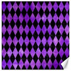 Diamond1 Black Marble & Purple Watercolor Canvas 16  X 16   by trendistuff
