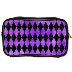 Diamond1 Black Marble & Purple Watercolor Toiletries Bags 2 Side by trendistuff