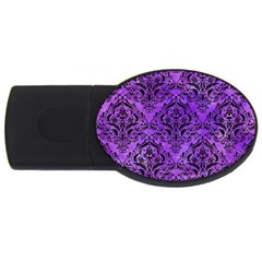 Damask1 Black Marble & Purple Watercolor Usb Flash Drive Oval (4 Gb) by trendistuff