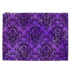 Damask1 Black Marble & Purple Watercolor Cosmetic Bag (xxl)  by trendistuff