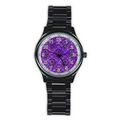 Damask1 Black Marble & Purple Watercolor Stainless Steel Round Watch by trendistuff