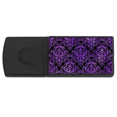Damask1 Black Marble & Purple Watercolor (r) Rectangular Usb Flash Drive by trendistuff