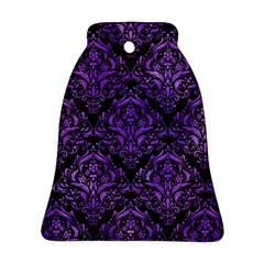 Damask1 Black Marble & Purple Watercolor (r) Bell Ornament (two Sides) by trendistuff