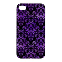 Damask1 Black Marble & Purple Watercolor (r) Apple Iphone 4/4s Hardshell Case by trendistuff