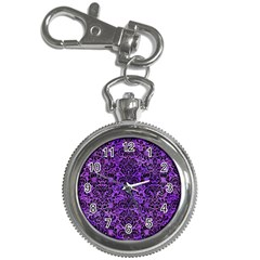 Damask2 Black Marble & Purple Watercolor Key Chain Watches by trendistuff