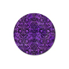 Damask2 Black Marble & Purple Watercolor Magnet 3  (round) by trendistuff