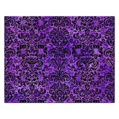Damask2 Black Marble & Purple Watercolor Rectangular Jigsaw Puzzl by trendistuff