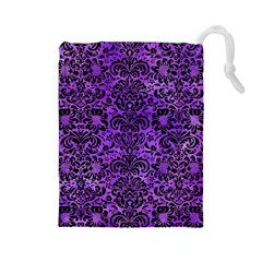 Damask2 Black Marble & Purple Watercolor Drawstring Pouches (large)
