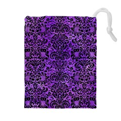 Damask2 Black Marble & Purple Watercolor Drawstring Pouches (extra Large) by trendistuff