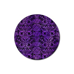 Damask2 Black Marble & Purple Watercolor (r) Rubber Round Coaster (4 Pack)  by trendistuff