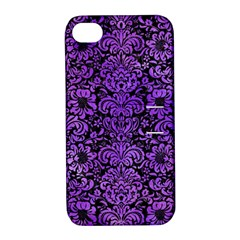Damask2 Black Marble & Purple Watercolor (r) Apple Iphone 4/4s Hardshell Case With Stand by trendistuff