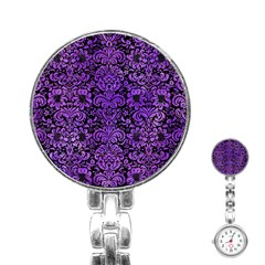 Damask2 Black Marble & Purple Watercolor (r) Stainless Steel Nurses Watch by trendistuff