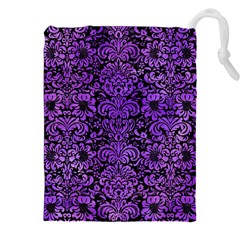 Damask2 Black Marble & Purple Watercolor (r) Drawstring Pouches (xxl) by trendistuff