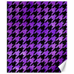Houndstooth1 Black Marble & Purple Watercolor Canvas 8  X 10  by trendistuff