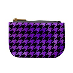 Houndstooth1 Black Marble & Purple Watercolor Mini Coin Purses by trendistuff